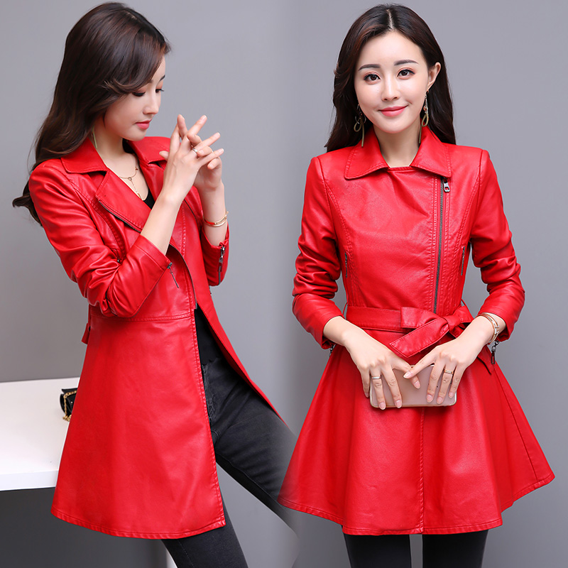 Autumn Winter Womens Long   Leather   Jackets And Coats 2018 New Fashion Elegant   Leather   Coat Women Slim Clothing Black And Red