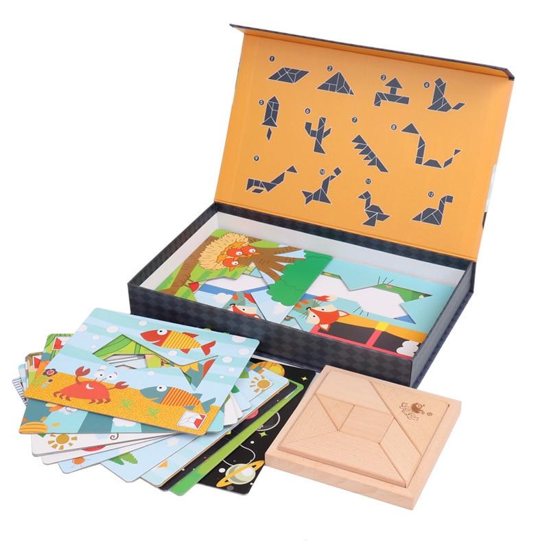Wooden Jigsaw Toys For Children Early Educational Game Montessori Oyuncak Toys For Boys Girls montessori wooden tangram jigsaw board educational early learning wood puzzles game toys for children kids gifts ds19