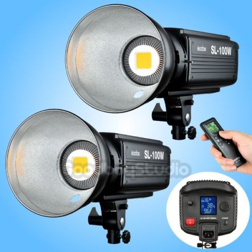 цена 2PCS Godox SL-100W 2400LUX Studio LED Video Light Bowens Mount with Remote