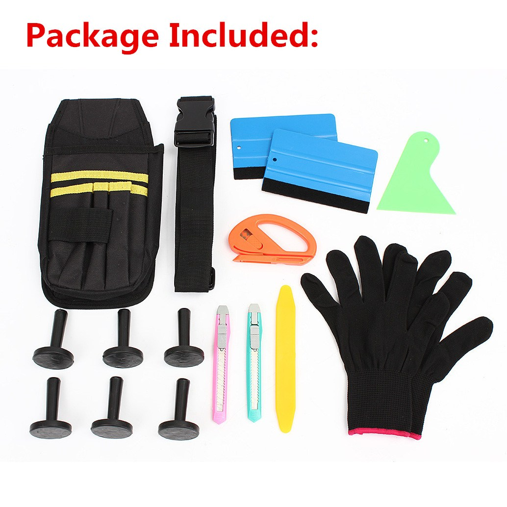 Useful Car Wrap Vinyl Tools Kit Cutter Squeegee Bag Razor Wrapping Gloves 6 Magnets цена