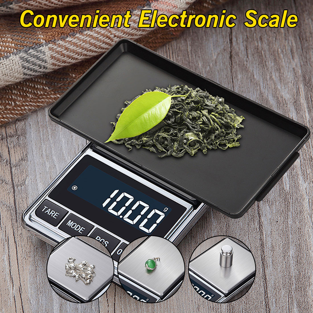 500g/100g x 0.01g Electronic Jewelry Scale Digital Pocket Weight Mini Precision Balance USB Powered LCD Gold Gram Weighing Scale