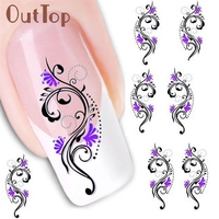 1PC Water Transfer Slide Nail Decal Sticker Nail Art Tips Toe Decoration XF1423 U0307