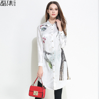 Long Sleeve Blouses Women Long White Shirt Breasted Print Chiffon Blouse Vintage Loose Casual Tops