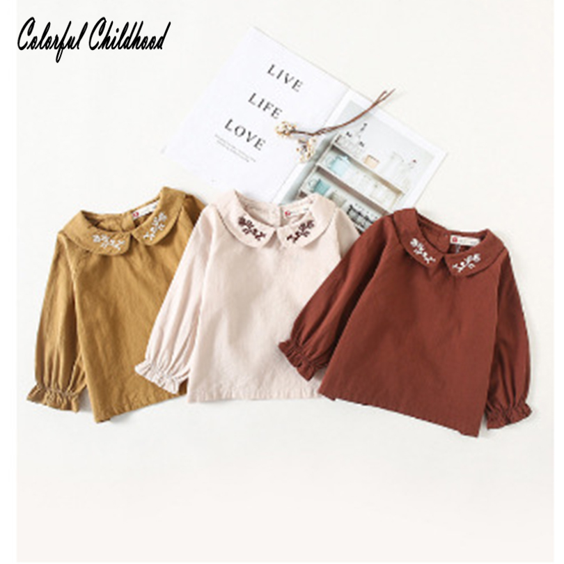 2018 New Baby Girls Blouse Cute Peter Pan Collar Pure Color Shirts Little Girl Autumn Spring Match Bottoming Tops Out Wear 1-4t