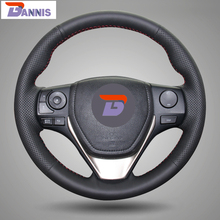 BANNIS Black Artificial Leather DIY Hand-stitched Steering Wheel Cover for Toyota RAV4 2013 2014 Toyota Corolla Car