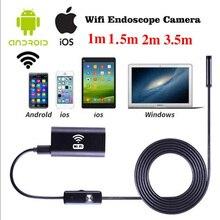 1 м 8 мм Беспроводной WI-FI эндоскопа Водонепроницаемый LED HD 1.0MP Камера для Iphone, Android трубы змея видео Камера видеокамера