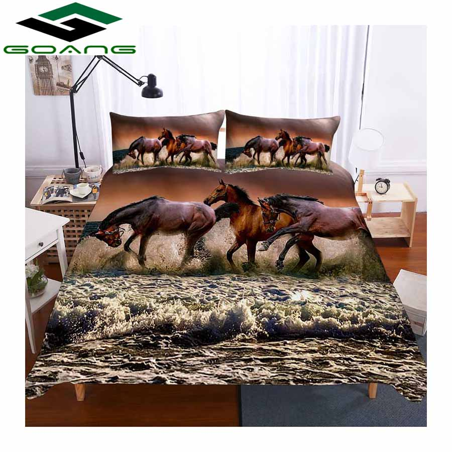 GOANG Bedding Sets 3d Digital Printing Horse Running Bed Linen Duvet Cover Bed Cover Pillow Case 3pcs Twin Bedding Set