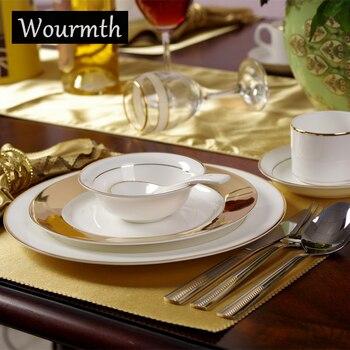 Wourmth European style Western Dish Steak Plates Gold Phnom Series Hotel Tableware Bone china Kitchenware Christmas Gift