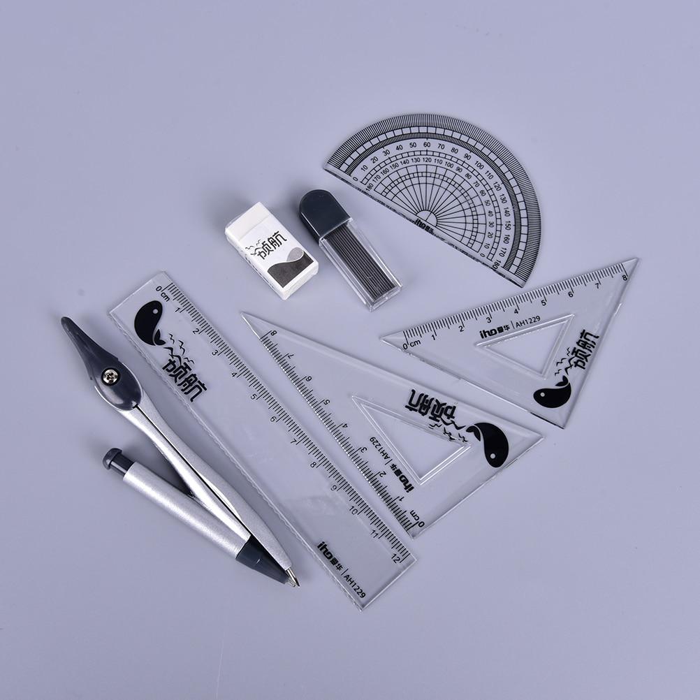Peerless 1set Ruler Drawing Suit 7 Pieces Of Compasses Ruler Set Student Ruler Set Brands Geometric Drafting Tool Set Office & School Supplies School & Educational Supplies