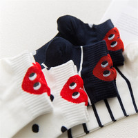Red Heart Cute College Wind Simple Basic Funny Female Socks Warm Comfortable Cotton Spring And Summer harajuku Sox Women Socks