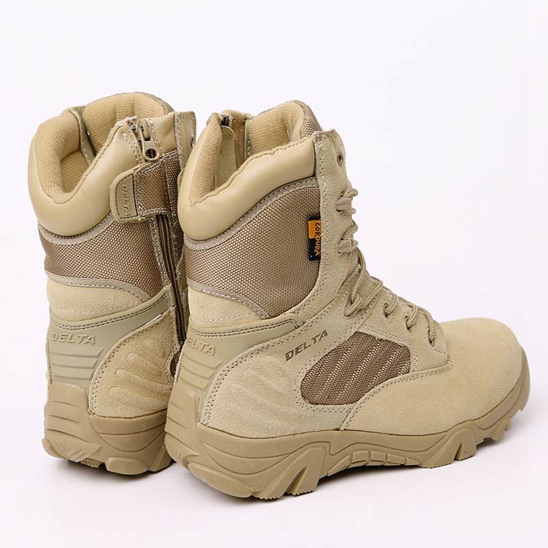 DELTA Men Hiking Shoes Military Desert Tactical Boot Army Genuine Leathe Breathable Hunting Climbing Work Shoes Ankle Boots 3