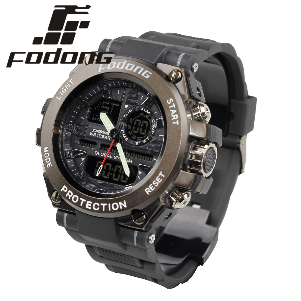 цены  Fodong Grey Dual Display Water Resistant Men Diving Watches Luminous Round 51MM Quartz Watch Rubber Strap Relogio Masculino