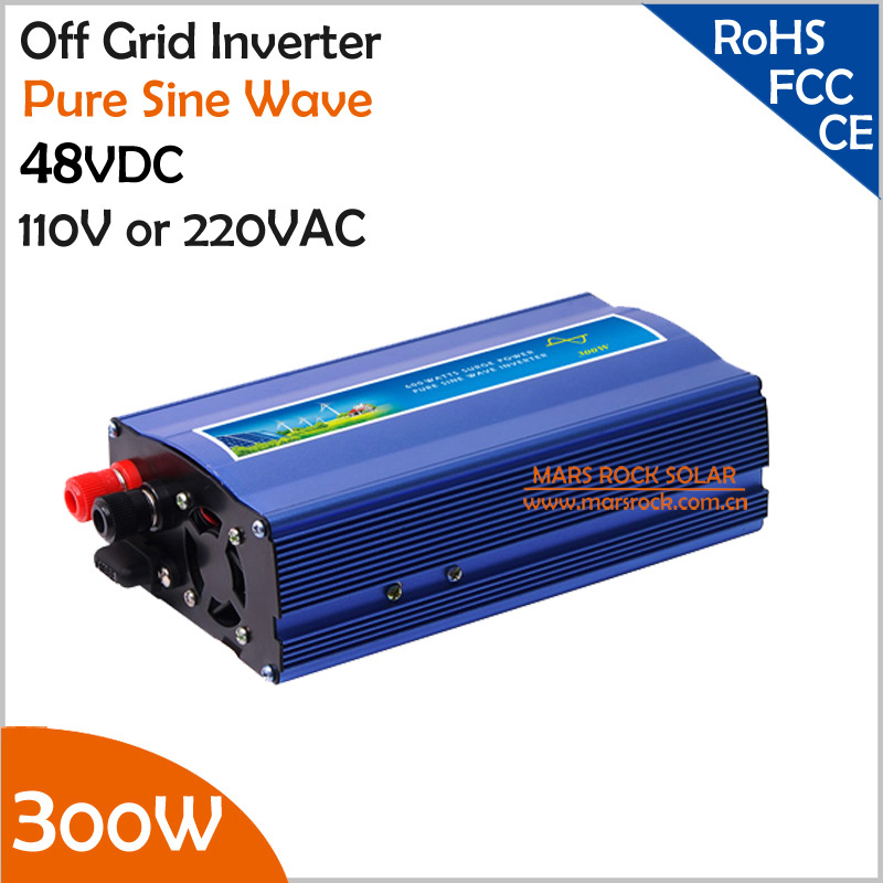 300W 48VDC off grid pure sine wave inverter for solar or wind power system, surge power 600W single phase inverter 800w off grid inverter surge power 1600w 12v 24vdc to 110v 220vac pure sine wave single phase inverter for solar or wind system