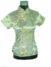 New Fashion Yellow Women s Silk font b Blouse b font Mandarin Collar font b Shirt