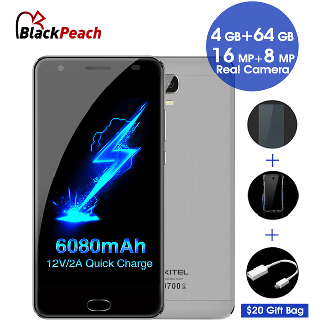 """Oukitel K6000 Plus 4G Mobile Phone 5.5"""" FHD MTK6750T Octa Core Android 7.0 4GB+64GB 16MP Cam 6080mAh Quick Charge Fingerprint ID"""