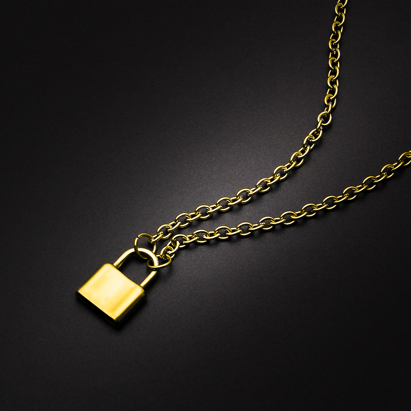 Golden Color Padlock Pendant Necklace Stainless Steel Rolo