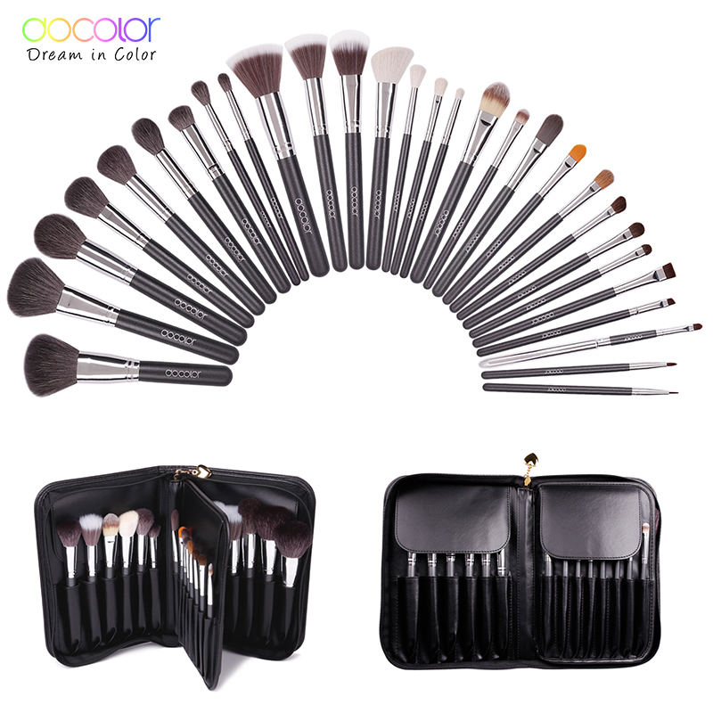 Docolor Make up Brushes 29 pcs profeesional makeup brush Set With Case Top nature bristle and synthetic hair makeup brushes set at fashion 12 pcs makeup brushes set studio holder portable make up cup natural hair synthetic duo fiber makeup brush tools kit
