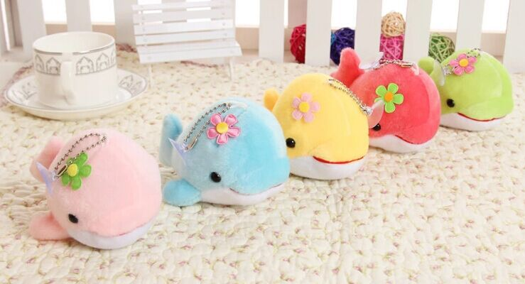 12cm super cute dolphine plush toy porpoise stuffed doll small pendant phonestrape cellu ...