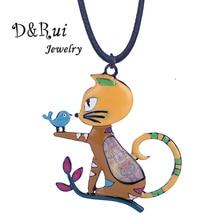 D&Rui Jewelry 2019 Best-Selling Cat Pendant Trendy Enamel Alloy Cartoon Animal Long Rope Chain Girls Kids Necklace Women