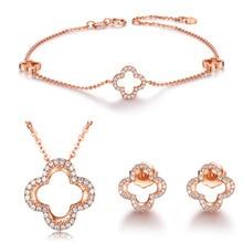 S925 Sterling font b Silver b font Jewelry Set Rose Gold Color Bracelet Clover Necklace Pendant