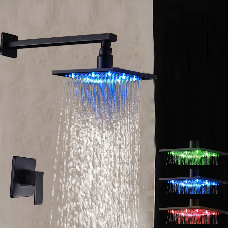 Oil Rubbed Bronze LED Square Rain Shower Head + Shower Arm Wall Mount Shower Faucet Mixer luxury led color changing 12 square rainfall shower head with brass wall mount shower arm oil rubbed bronze