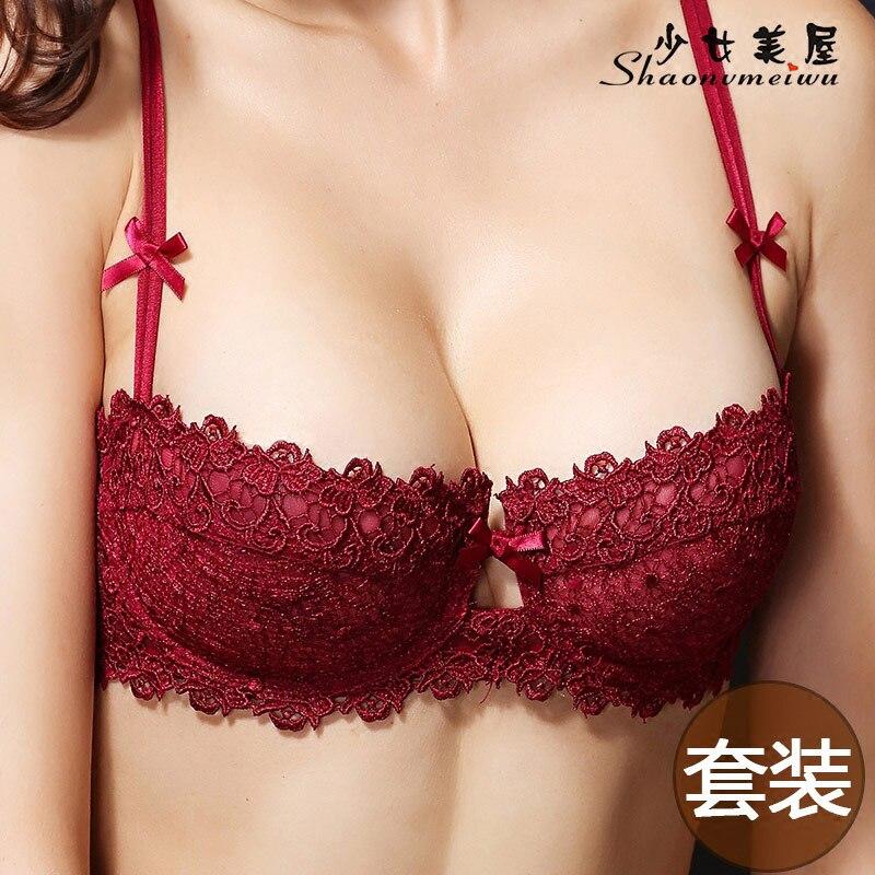 f27a79ba2 Benmingnian transparent red bra set underwear woman slim and sexy lace  wedding bra big yards small chest-in Bra   Brief Sets from Underwear    Sleepwears on ...