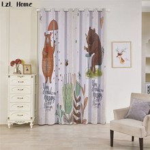 LzL Home 3d lovely cartoon animals window curtain modern fashion style blackout curtains for kids room