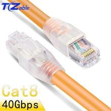 Cabo de rede rj45 40g cat8, fibra ótica com blindagem e roteador doméstico de alta velocidade, internet ou rede lan rede de rede