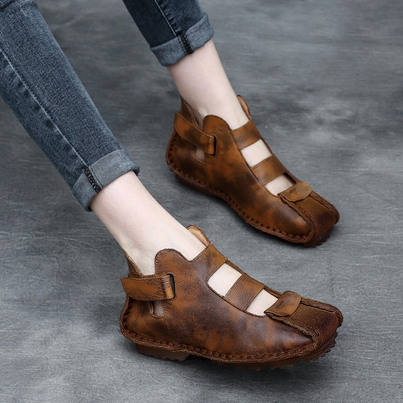 Tyawkiho Genuine Leather Women Boots Summer Shoes Hollow Out Ankle Boots Sandals Low Heel Soft Bottom Handmade Women Shoes 2018 tyawkiho genuine leather women sandals 7 cm high heel pointed toe summer shoes hollow out retro sandals handmade women shoe 2018