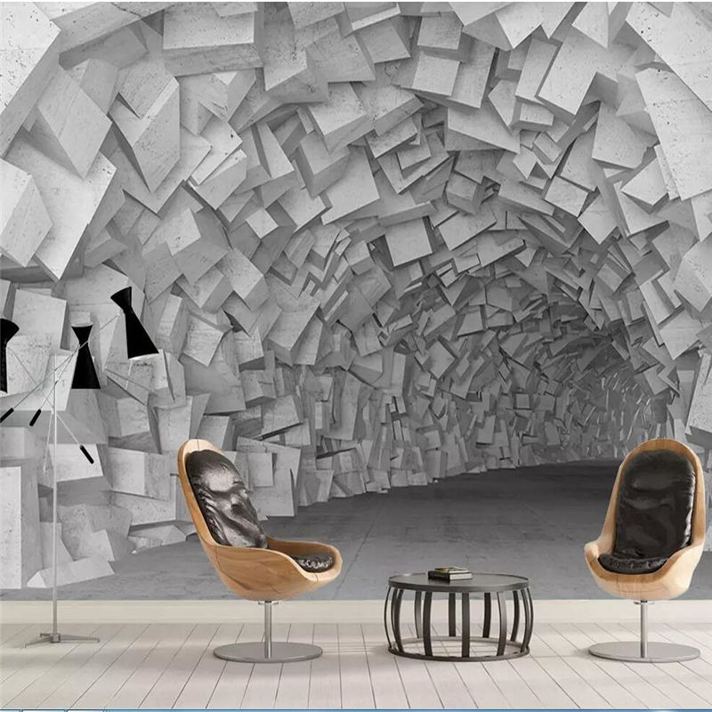 Beibehang Wallpaper Custom Living Room Bedroom Murals 3D Simple Three-dimensional Space Geometric Building Living Room Wall