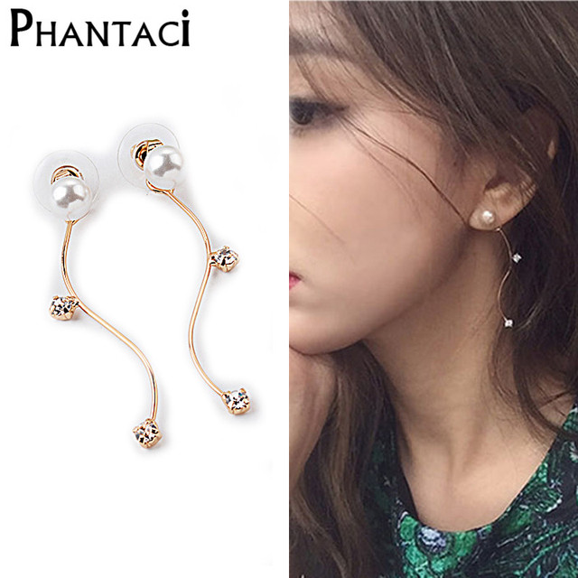 2018 New Arrival Back Pearl Crystal S Shaped Design Long Stud Earrings For Women Gold Color