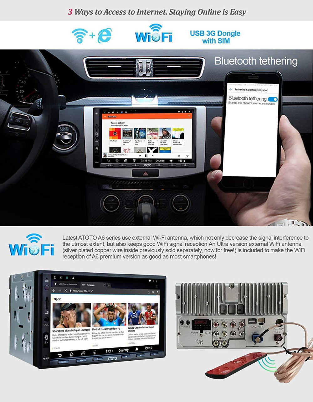 ATOTO A6 2 Din Android Car GPS Stereo Player/2x Bluetooth/A6Y2721PRB-G/Hands Gesture Operation /Indash Multimedia Radio/WiFi USB