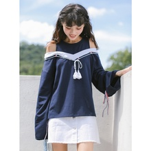2017 new mori girl Self-restraint navy style faux two piece tassel strapless patchwork T-shirt basic shirt female lacing long-sl