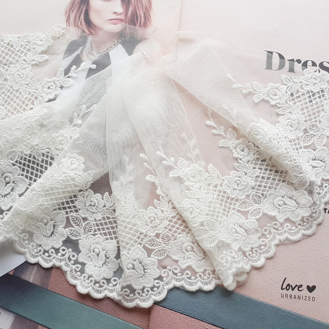 3 Yard/ Lot Width 19cm White Embroidered Lace Fabric , DIY Handmade Materials Lace Trim, Clothing Accessories Lace RS282