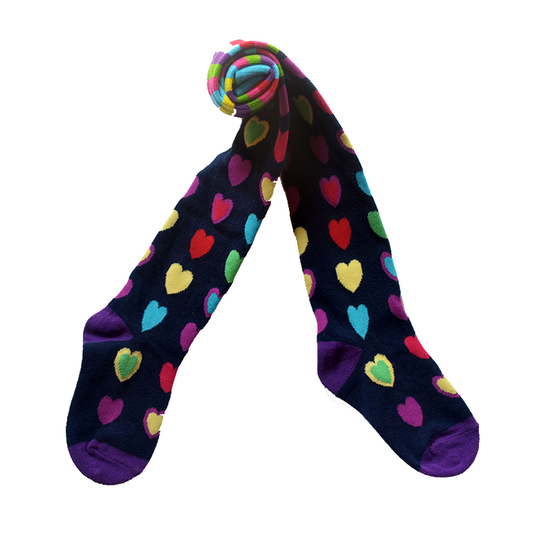 New dressing Purple Heart shaped pattern Baby Girl Tights Cotton Cute Children Stocking Baby Pantyhose For Kid 2-9 Years