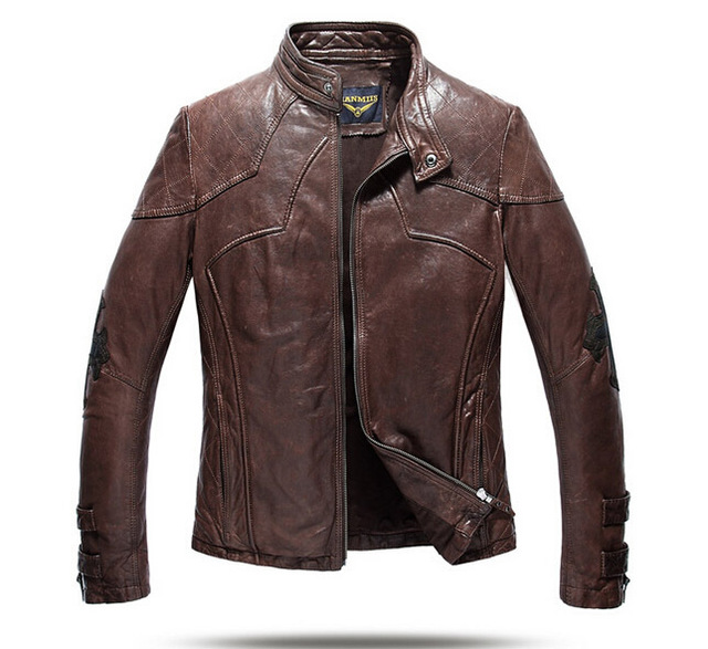 2015 New  Vegetable tanned  Sheep skin  Men's leather jackets  Crosses  Rivet  Locomotive  Link Check  Leather clothing DXY04