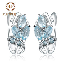 1c90b7b5f Gem's Ballet Round Natural Sky Blue Topaz Earrings Fine Jewelry Soild 925  Sterling Silver Earrings For Women Earring