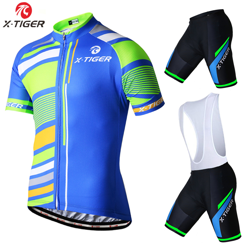 ФОТО X-Tiger Summer Short Sleeve Cycling set Ropa Ciclismo/2017 Mountain Bike Clothing/Breathable Mans Bicycle Jersey Sportswear