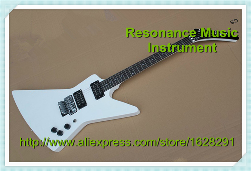 Custom Shop White Explorer Electric Guitar with Silver Floyd Rose Tremolo Available цена