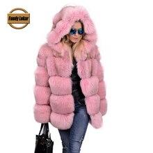 FL New Brand Fox Fur Coat With Hooded Real Fur Jackets Winter Women Long Genuine Fur Coats Female 2016 Fashion Russian Fur Coat