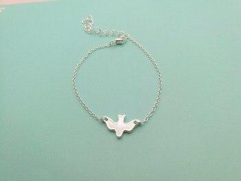 Pulsera pequeña de paloma de la paz, pulsera de pájaros para volar, pulseras de pájaros abstractas pequeñas y lindas para bebés