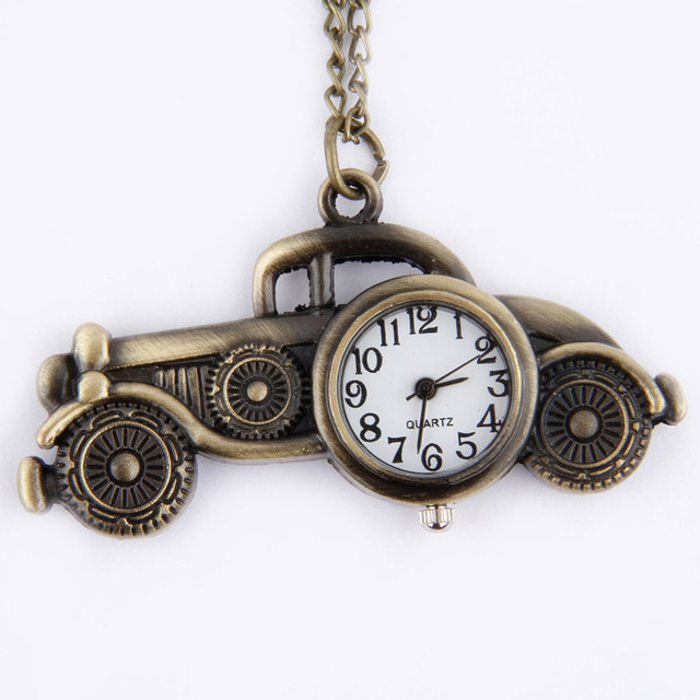 #5001Antique Bronze Classic Cars Design Pendant Pocket Watch Necklace Gift DROPS