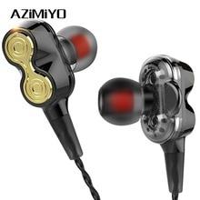 AZiMiYO In-Ear Earphones Dual Driver Earphone with Mic Bass Sport Stereo Hifi Headset Earbuds for phone Huawei mi 3.5mm earphone