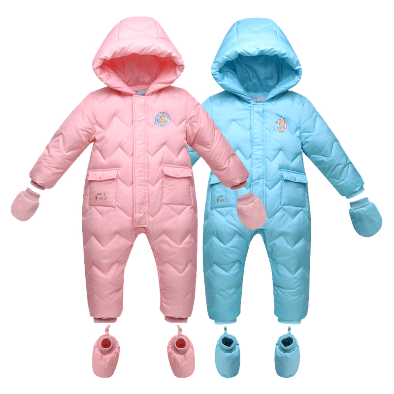 2017 Keep Thick Warm Infant Baby Rompers Winter Clothes Newborn Baby Boy Girl Romper Jumpsuit Hooded Kid Outerwear For 0-18M christmas baby rompers ropa bebe 100%cotton newborn infant romper 0 18m baby girls boy clothes jumpsuit romper baby clothes