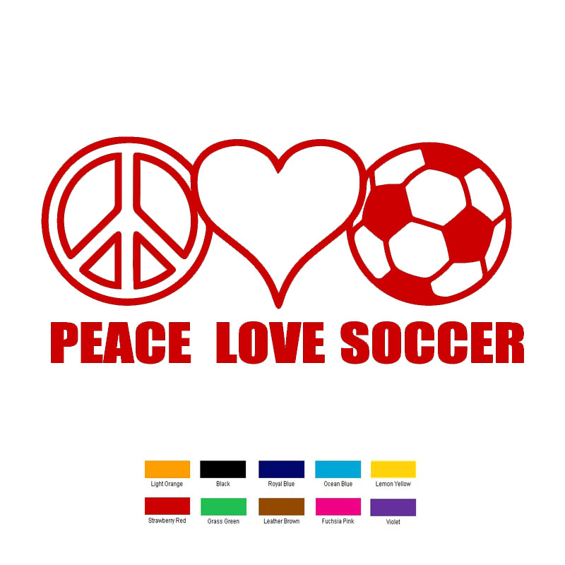 HotMeiNi 18cm x 6cm Peace Love Soccer Car Sticker For Truck Window Bumper Auto SUV Door Laptop Kayak Vinyl Black/Sliver