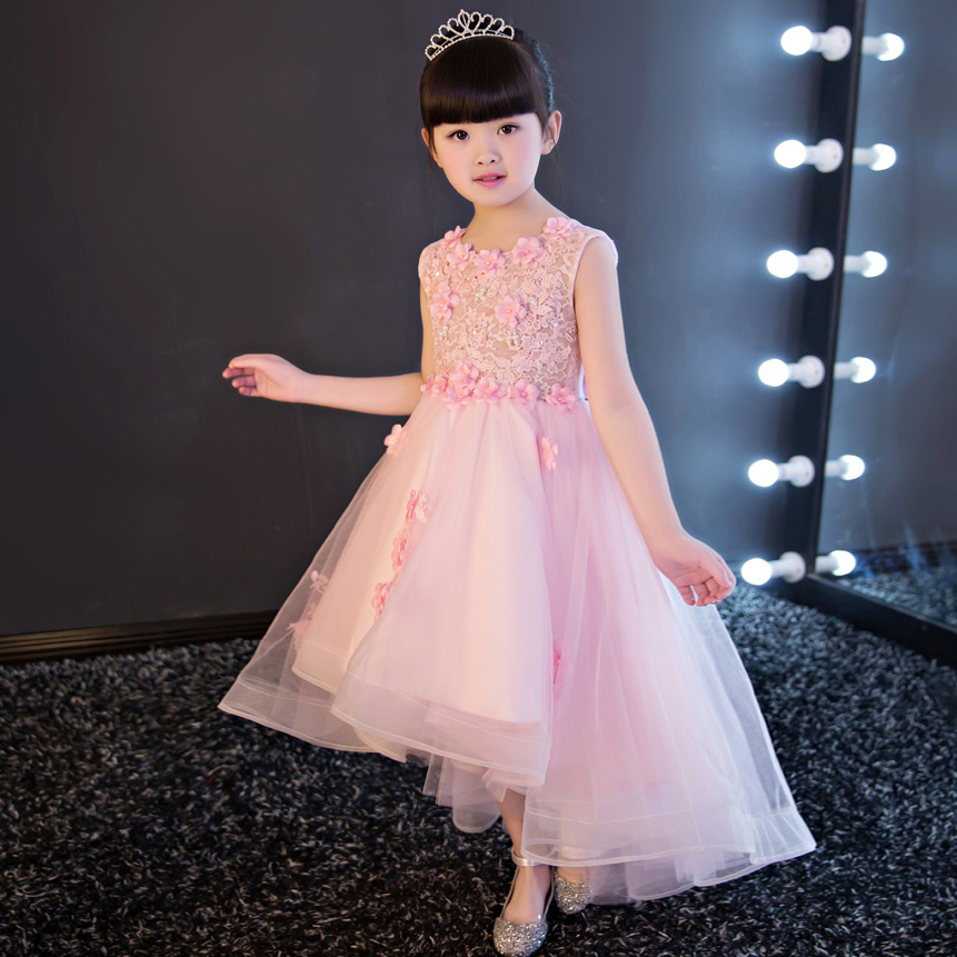 Flowers Girl Pageant Dress Pink Rose Bow Tie Belt Wedding Birthday Party Kids Clothes 2017 Summer Princess Lace Dresses 3-15yrs new summer dress sequined flowers bow kids dresses for girls clothes solid birthday party robe princess dress wedding vestido