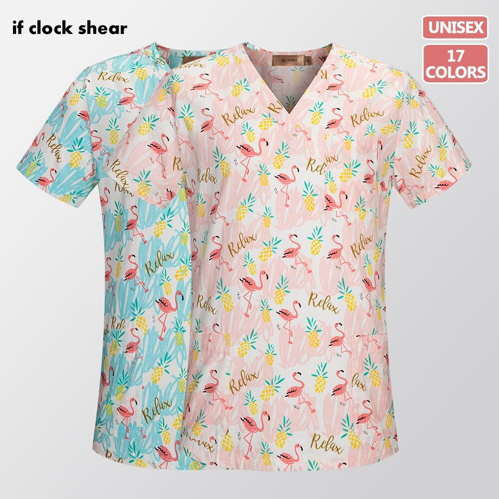 Unisex Cotton Print Medical Scrubs Work Clothing Nursing Uniform Tops Dental Hospital Doctor Nurse Workwear Shirt Scrub Uniforms