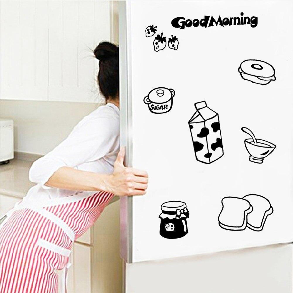 US $1 7 OFF 60 Cm X 60 Cm Selamat Pagi Lucu Stiker Kulkas Senang Lezat Dapur Kulkas Stiker Dinding Seni Dinding Ruang Tamu Decals Mural In Wall