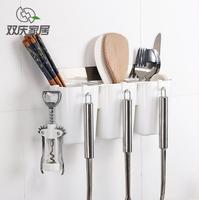 Wall Mounted Spoon Holder Rack Chopsticks Kitchen Rack Chopsticks Plastic Storage Box Kitchen Organizer Cook Shovel