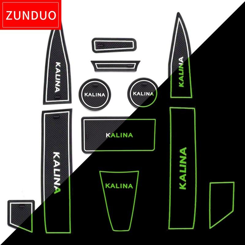 ZUNDUO fessura del Cancello Porta pad Mat Per Lada Kalina SPORTCar Groove Tappetini antiscivolo Porta per Interni Pad/Tazza ROSSO BLU BIANCO
